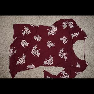 Burgundy floral flowy dress